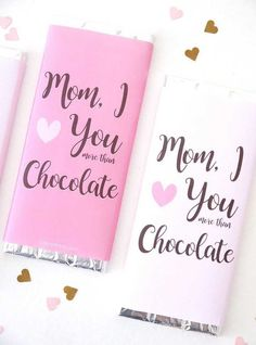 Diy Gifts For Mom, Mothers Day Crafts For Kids, Diy Mothers Day Gifts, Mother Gifts, Chocolate Bar Wrappers, Candy Bar Wrappers, Ideas Desayunos, Gift Ideas, Ideas Party