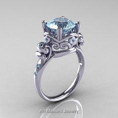 Modern Vintage 14K White Gold 3.0 Carat Aquamarine Wedding, Engagement Ring R167-14KWGAQ
