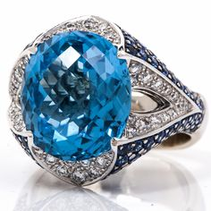 Rodney Rayner 14.50 cts Diamond Topaz Sapphire 18K Gold Cocktail Ring - Dover Jewelry