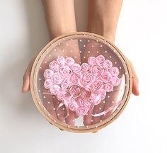EXPRESS SHIPPING, Ring Pillow Alternative, Wedding Ring Pillow, Ring Holder, Ring Hoop, Pink Rose, Lace Ring Pillow, Boho Wedding, Lace Hoop