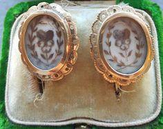 Antique Spanish Mourning Earrings Hairworks Jewelry Mourning Jewelry Georgian 18K Gold Earrings Hearts Valentine Jewelry Flower Memento Mori