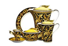 Versace - Barocco 21-Piece Coffee Set  A classic colour blend of black on gold, Versace's Barocco is an effortlessly decadent design. This stylish coffee set consists of six cake plates, six tall coffee cups and saucers, a 1.2-litre coffee pot, a covered sugar bowl and a covered milk jug - everything you could need for the perfect afternoon tea. #LuxDeco #Design #Homeware