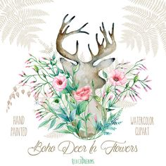 Deer With Flowers. Hand Painted Horns, Antlers, Fern, Lisianthus, Jasmine, Sprigs, Wild, Boho clipart, Wedding flowers, Bohemian, Tribe