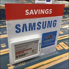 Electronic-Price-Tag Table-Top Samsung Sign-Holder – Fixtures Close Up Retail Fixtures, Store Fixtures, Price Signage, Smart Tag, Price Tickets, Cool Things To Buy, Communication, Samsung, Electronics