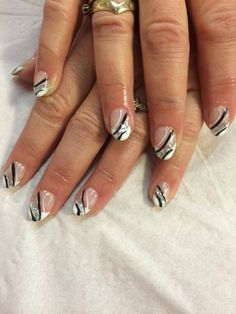 Stylish Black And White Nails With Silver Shimmers #Frenchmanicure