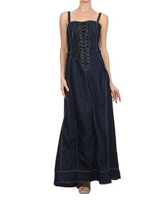 Denim Lace-Up Maxi Dress Cut from cotton denim, this floor-length dress exudes classic style. The lace-up front brings an edge your casual look.   50'' long from high point of shoulder to hem 100% cotton Vegan Cruelty free  Sexy flowing jeans unique designer