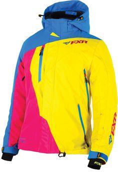 FXR Racing - 2015 Snowmobile Apparel - Women's Vertical Pro Jacket - Blue/Yellow/Fuchsia