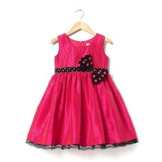Dupion Dress In fuchsia with polka sash and bow gives a stunning look! Your angel will look incredibly cute in this dress. #information #buy #free #online #shopping #shipping #discount