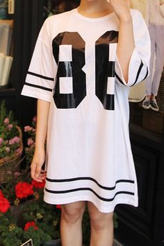Printed Number T-shirt dress is one of big trend this season, we have White and Gray. Wear with flip flop or wedges.