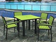 Polywod Casual Outdoor Dining Set Lime via The Beach Look. Click on the image to see more!