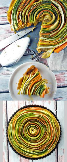 1/4 cup Basil, leaves. 2 Carrots, medium. 2 cloves Garlic. 2 tbsp Herbs, fresh. 1 cup Sundried tomatoes. 1 Yellow squash, large. 1 Zucchini, large. 1 Salt and pepper. 1/2 cup Olive oil. 1 No-fail pie crust. 1/4 cup Parmesan.