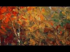 "Palette knife painting, autumn forest, by Tatiana Iliina, ""Sunburnt Caravan"" Acrylic Painting Techniques, Painting Videos, Art Techniques, Painting & Drawing, Miguel Angel, Forest Painting, Action Painting, Palette Knife Painting, Art Oil"