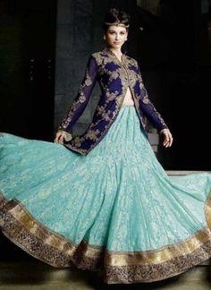Fancy Blue And Turquoise Embroidery Work Lehenga Choli http://www.angelnx.com/Lehenga-Choli/Designer-Lehenga-Choli