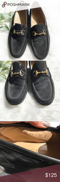 GUCCI men's black suede horsebit loafers size 9.5 GUCCI men's black suede horse it loafers in gently used condition. Soles have definite wear (please see photos and zoom in) but could easily be re-soles if needed. Otherwise in great condition! Timeless style! Gucci Shoes Loafers & Slip-Ons