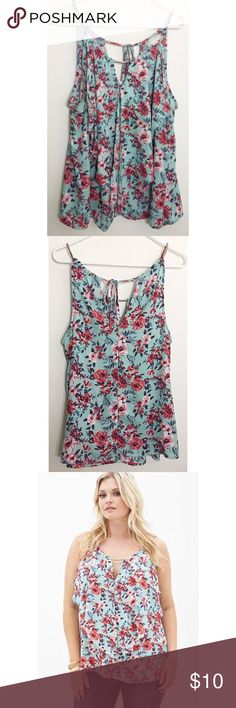Forever 21+ | Floral Print Tie Back Top  EUC • adorable colors and floral print • ties in the back • size 1X  Forever 21 Tops Camisoles