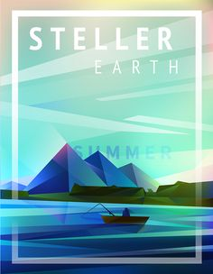 Geometric landscape of mountains and river with a boat vector illustration poster