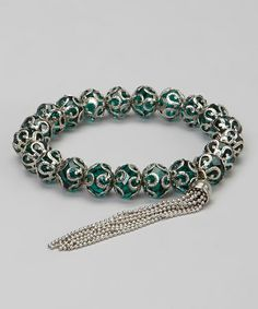 Love this Teal & Silver Tassel Kota Stretch Bracelet on #zulily! #zulilyfinds - oh wow