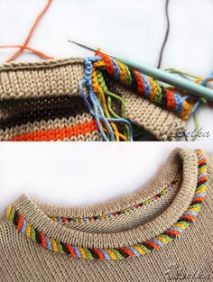 "Одноклассники ""Twisted trim stitch-comment on Knitting Paradise"", ""Crochet detail or embellishment to knit sweater"", ""mods: i-cord loop and seco Knitting Stiches, Crochet Stitches, Baby Knitting, Knit Crochet, Stitch Patterns, Knitting Patterns, Crochet Patterns, Knit Edge, Crochet Borders"