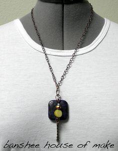 Lapis Necklace   Beads with Large Lapis by bansheehouseofmake