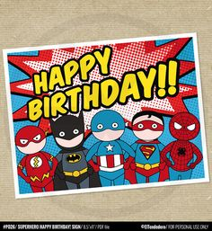 Superhero Happy Birthday sign inspired by Captain by eltendedero