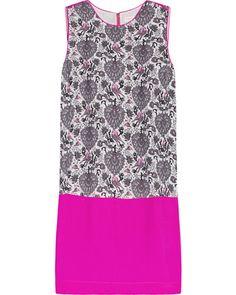 Rebecca Taylor Color-block printed silk dress