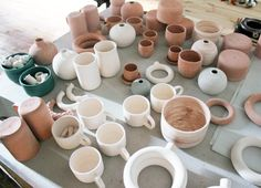 """Bisque fired stock. Ahn throws three different types of clay bodies: white, medium with speckled, and a darker clay. """"For a while I was using Standard clay, which is out of Pennsylvania,"""" she says, """"but there were some problems with cracking. I think for a while in the beginning I was just trying to make anything work. After making hundreds and hundreds of things, you're like, 'I can't have half my pieces crack. I need a more stable clay.' You don't figure those things out until you've…"""