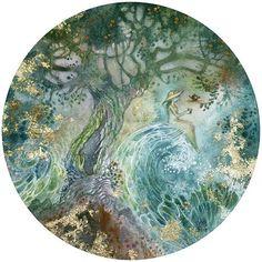 """Tea in Strange Places"" #watercolorpainting #watercolor #goldleaf #tea #tealover #ocean #sea #surreal #tree #treeoflife #enchantment #magical #beautiful #fairytale #art"