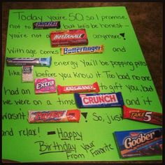 50th birthday candy card I made for a friend.