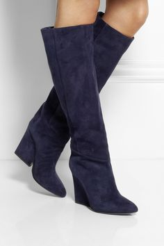Jimmy Choo | Cartel suede wedge knee boots | NET-A-PORTER.COM