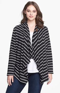 Bobeau Stripe Fleece Wrap (Plus Size) available at #Nordstrom $34 in navy/white