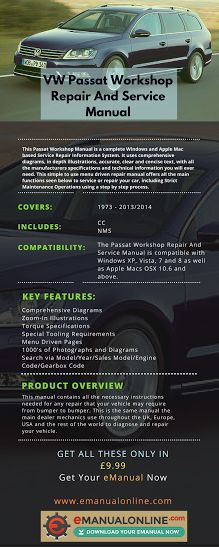 VW Passat Workshop Repair And Service Manual. This manual contains all the necessary instructions needed for any repair that your vehicle may require from bumper to bumper.