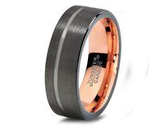 Black Gun Metal Tungsten Ring Rose Gold Wedding Band Ring Tungsten 7mm 18K Tungsten Ring Man Wedding Band Male Women Custom Anniversary Size