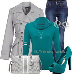 """Grey & Teal"" by casuality on Polyvore"