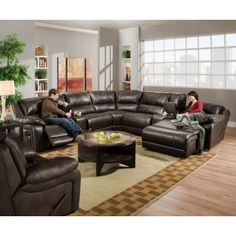 $1989 www.furniturecloseoutstore.com brown leather sectional sofa with recliners