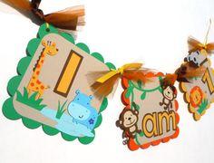 Cute Jungle Animal Theme I Am 1 Highchair by ScrapsToRemember