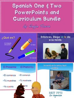 Spanish One and Two Power Points and Curriculum Bundle at HUGE savings…