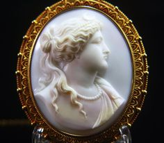 Victorian XLarge 18k Cameo of Artemis in Archaeological Revival Style