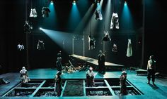 The hanging elements add more to the space, brings about a sense of mystery and clutters the aesthetics in a claustrophobic manner - the dips in the stage make more room and levels Set Theatre, Set Design Theatre, Theater, Stage Lighting Design, Stage Set Design, Bühnen Design, Design Ideas, Royal Ballet, Scenic Design