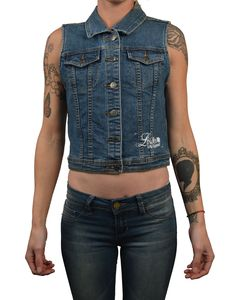 Women's Dead Bride by Josh Stebbins Frankenstein Tattoo Denim Vest