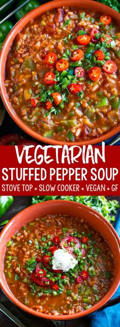 This tasty Vegetarian Stuffed Pepper Soup has both stove top and slow cooker ins. This tasty Vegetarian Stuffed Pepper Soup has both stove top and slow cooker instructions! Full of flavor and loaded Healthy Recipes, Meat Recipes, Slow Cooker Recipes, Indian Food Recipes, Cooking Recipes, Vegetarian Slow Cooker, Cooking Games, Healthy Soup Vegetarian, Vegetarian Stuffing