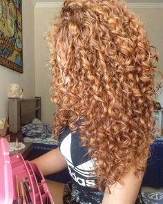 Dyed Curly Hair, Colored Curly Hair, Long Curly Hair, Amber Hair, Edges Hair, Ginger Hair, Crazy Hair, Cool Hair Color, Love Hair
