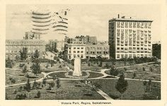 Postcard of Victoria Park in downtown Regina (Collection: 98-54, Folder 32)
