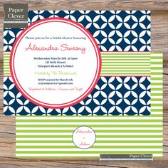 Bridal shower invitation mosaic navy coral lime or by paperclever