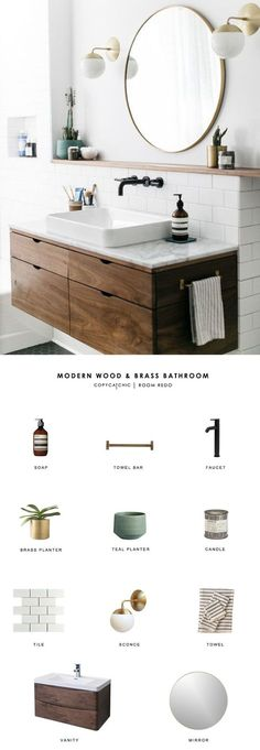 TOTAL   $1,832 SOAP $33   TOWEL BAR $80   FAUCET $119   BRASS PLANTER $50   TEAL PLANTER $20   CANDLE $65   TILE (PER SQ FOOT) $3   SCONCES (EA) $199   TOWEL $32   VANITY $880   MIRROR $149 >>> Want additional info? Click on the image. #homedecortrends