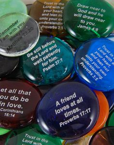 Christian Scripture Stones - Imprinted Colored Glass