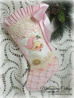 Shabby PINK SANTA Christmas Stocking pink rose