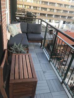 Done # decor # gray floor # composite Small Balcony Design, Small Balcony Decor, Outdoor Balcony, Terrace Design, Small Patio, Patio Design, Small Balcony Furniture, Condo Balcony, Apartment Balcony Decorating