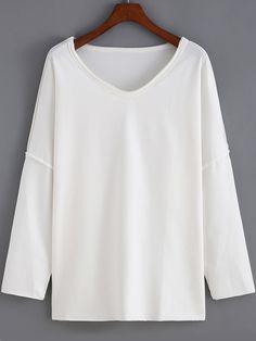 White Round Neck Batwing Loose Sweatshirt