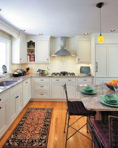 Remodeling Kitchen Design With Granite Countertop, Rug U0026 Dark Cabinet    Oriental Rug, Shaker Cabinets, Open Shelving, Rug Runner U0026 Kitchen Hardware