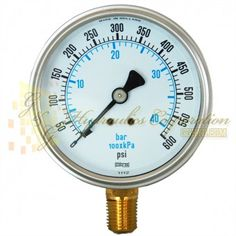 "Part #RV132A3N321KG Series 7211, 1/4"" NPT Bottom Connection, 2 1/2"" Gauge Size, 0-600 PSI, Liquid Filled Gauge."